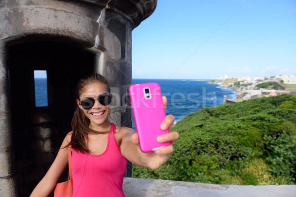 Tourist taking fun selfie at San Juan landmark Stock photo © Maridav