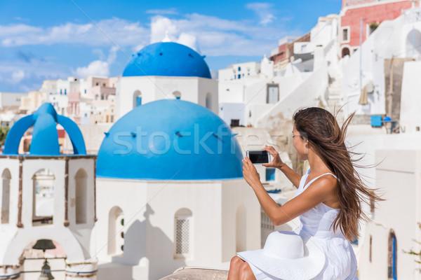 Stock fotó: Európa · utazás · nő · elvesz · fotó · telefon