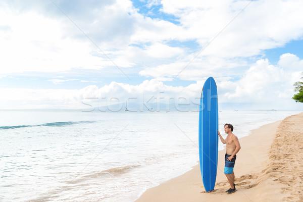 Surfen lifestyle jonge man surfer ontspannen strand Stockfoto © Maridav