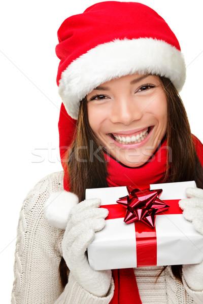 Stock fotó: Karácsony · mikulás · nő · tart · ajándék · mosolyog