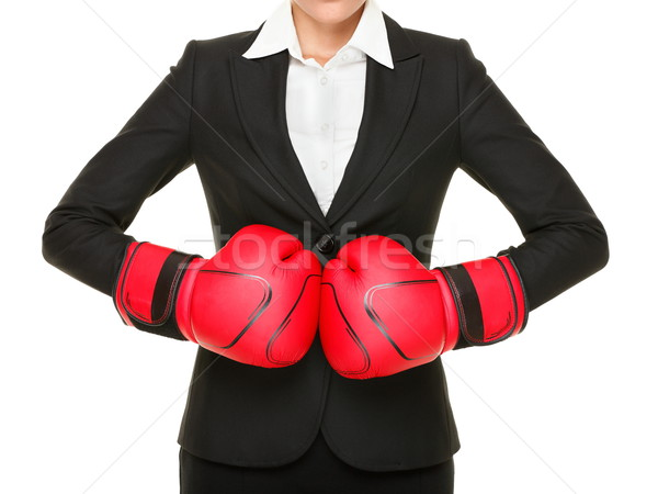 Concurrence prêt affaires femme d'affaires rouge gants de boxe Photo stock © Maridav