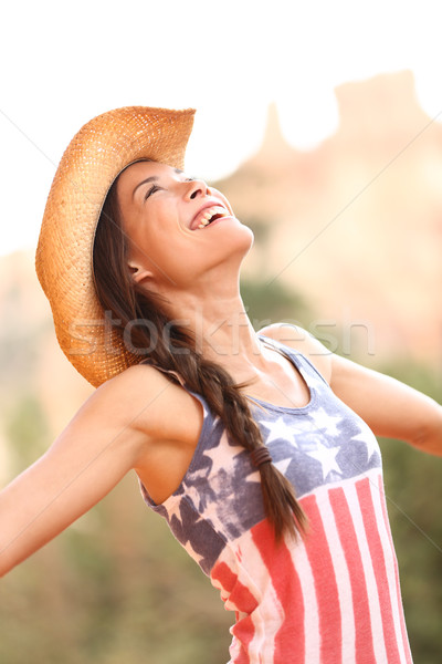 American cowgirl woman free and happy Stock photo © Maridav