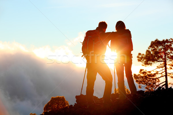 Hiking adventure healthy outdoors people standing Stock photo © Maridav