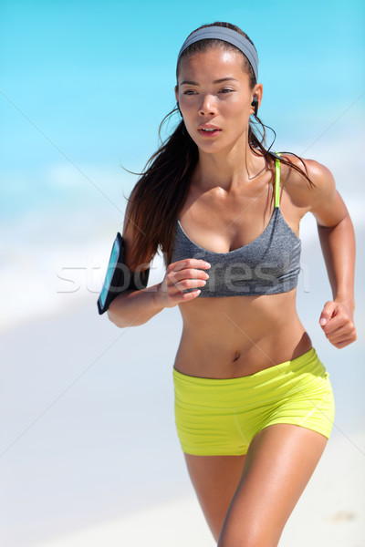 Stock photo: Running runner jogging training cardio on beach in sportswear