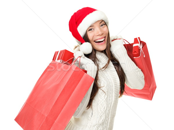 Foto stock: Navidad · compras · mujer · regalos