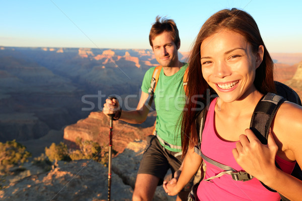 Couple hikers in Grand Canyon Stock photo © Maridav
