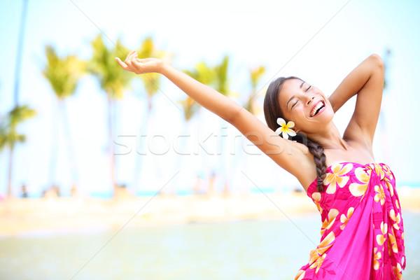Сток-фото: счастливые · люди · пляж · путешествия · женщину · счастье