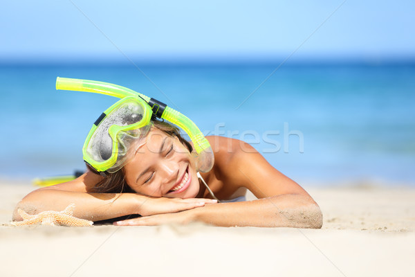 Travel summer vacation beach woman with snorkel Stock photo © Maridav