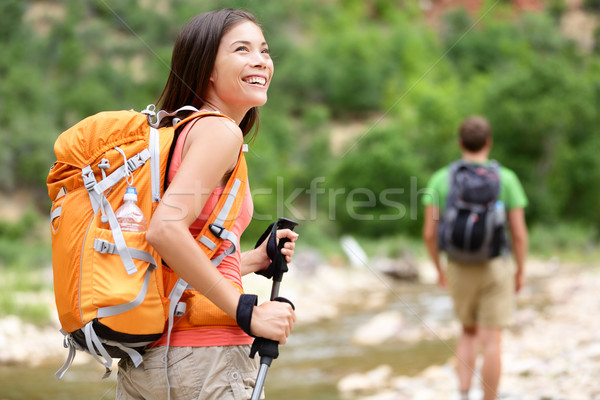 People hiking - woman hiker walking in Zion Park Stock photo © Maridav