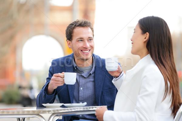 Pár randizás iszik kávé kávézó Barcelona Stock fotó © Maridav