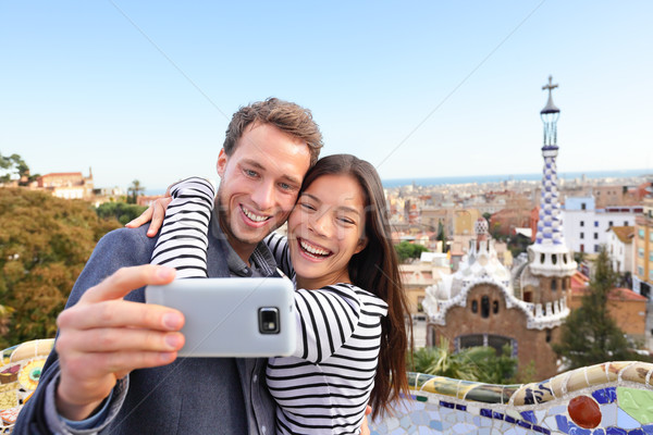 Travel couple happy selfie, Park Guell, Barcelona Stock photo © Maridav