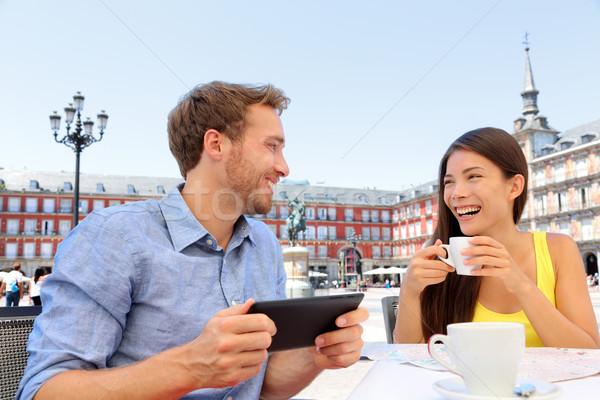 Madrid tourists at cafe drinking coffee having fun Stock photo © Maridav