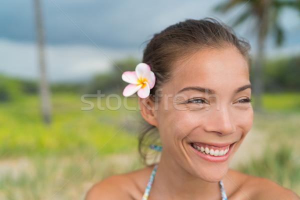 Hawaii asian ragazza indossare fiore capelli Foto d'archivio © Maridav