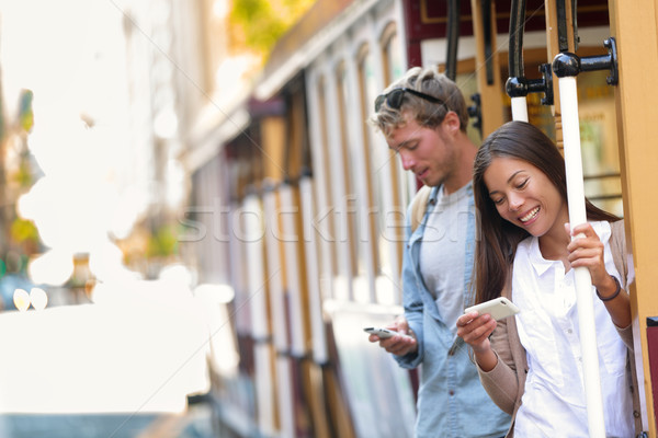 San Francisco Kabel Auto Menschen Handy App Stock foto © Maridav