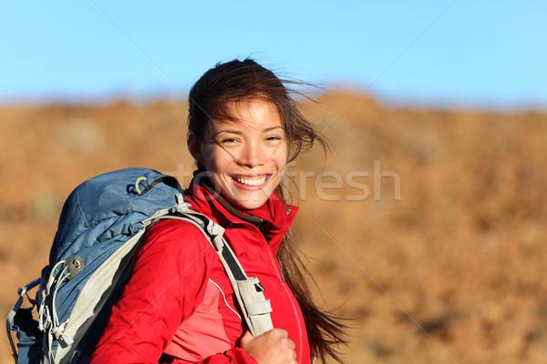 женщина улыбается за пределами женщину турист улыбаясь Сток-фото © Maridav