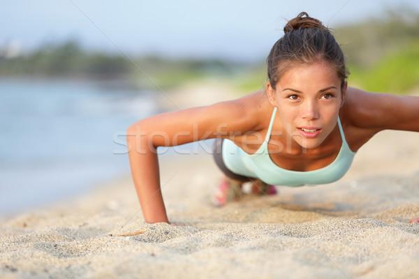Stockfoto: Fitness · vrouw · buiten · strand · geschikt · vrouwelijke