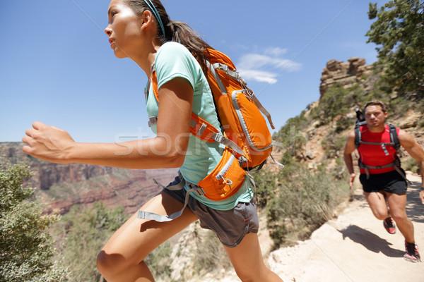 Trail runner cross country running Grand Canyon Stock photo © Maridav