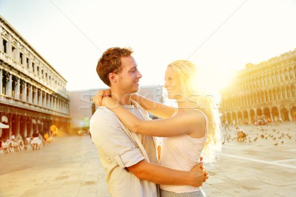 Love - romantic couple in Venice, Piazza San Marco Stock photo © Maridav