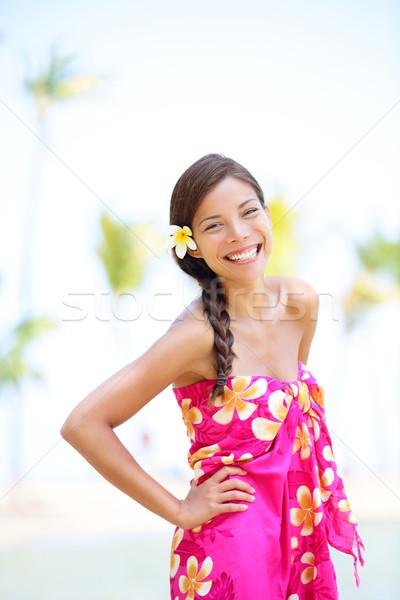 Nő tengerpart mosolyog boldog derűs csinos Stock fotó © Maridav