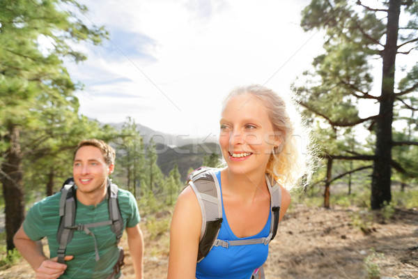 Hiker couple hiking in forest Stock photo © Maridav