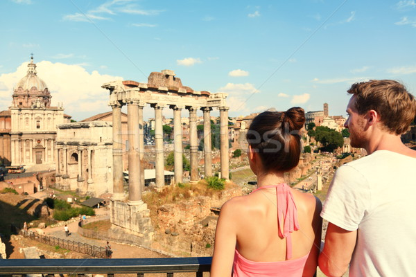 Rome tourists looking at Roman Forum landmark Stock photo © Maridav