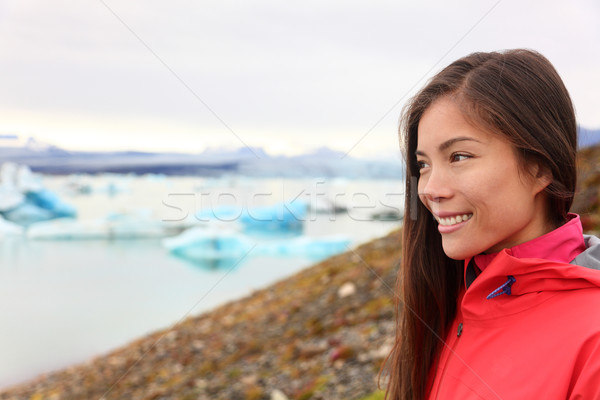 Woman at glacier lagoon on Iceland Stock photo © Maridav