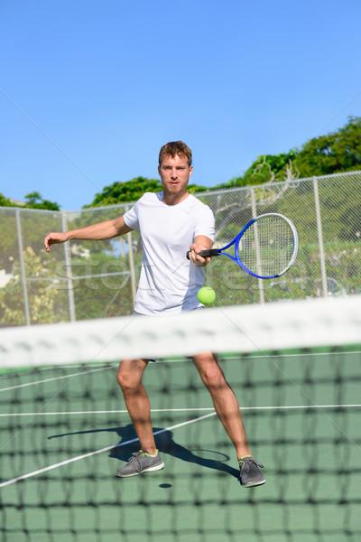Stock fotó: Tenisz · teniszező · röpte · net · labda · férfi