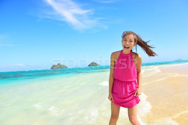 Woman having fun portrait on Hawaii Lanikai beach Stock photo © Maridav