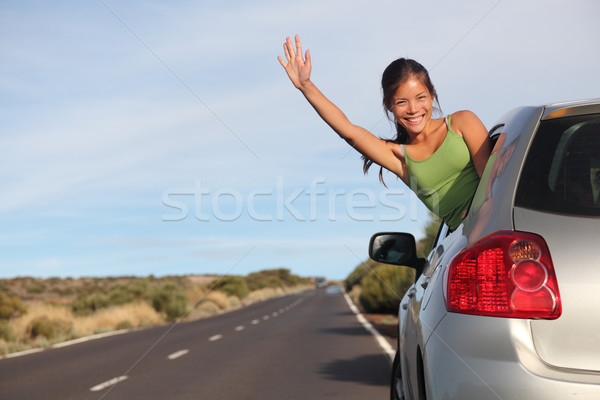 Woman in car road trip Stock photo © Maridav