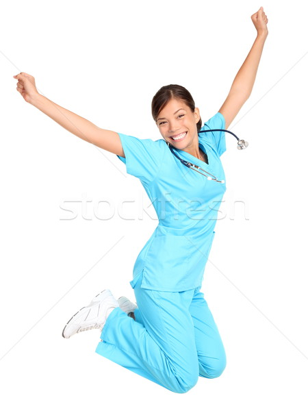 Nurse happy jumping Stock photo © Maridav