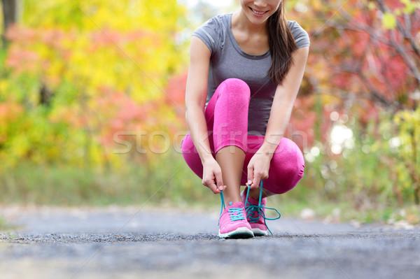 Zapatillas mujer corredor zapato encaje ejecutar Foto stock © Maridav