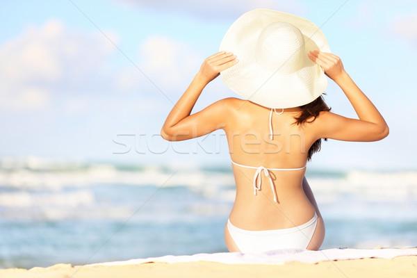 Сток-фото: Летние · каникулы · женщину · сидят · пляж · Hat