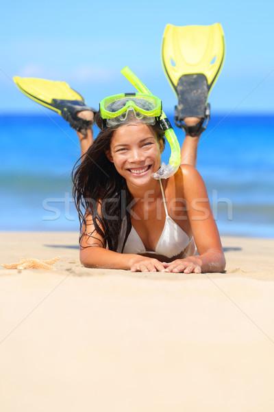 Seyahat kadın plaj tatil şnorkel kum Stok fotoğraf © Maridav
