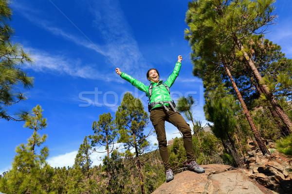 Foto stock: Senderismo · mujer · forestales · superior