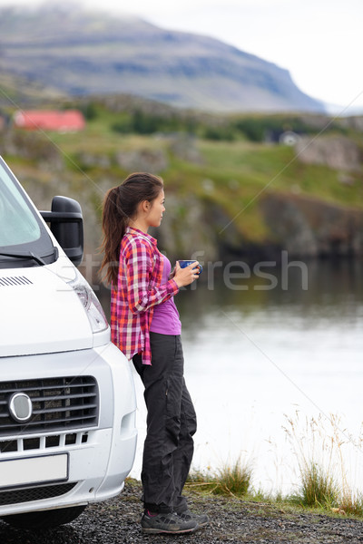 Travel woman by mobile motor home RV campervan Stock photo © Maridav