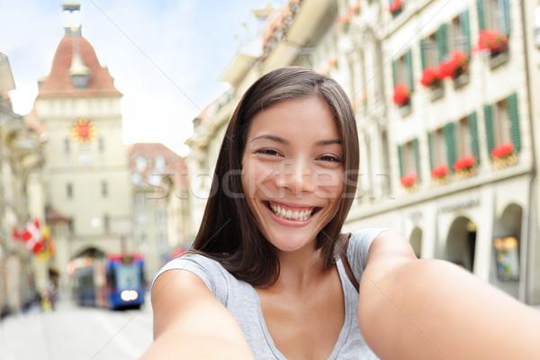 Woman taking selfie in Bern Switzerland Stock photo © Maridav