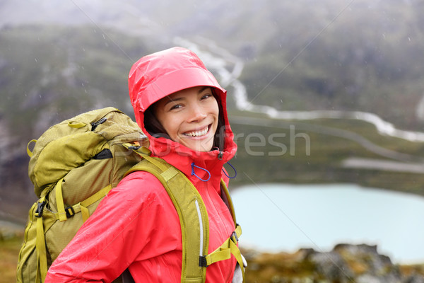 Happy young asian hiker woman hiking portrait Stock photo © Maridav