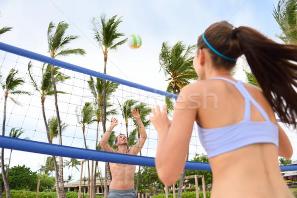 Emberek játszik tengerpart röplabda aktív életstílus Stock fotó © Maridav
