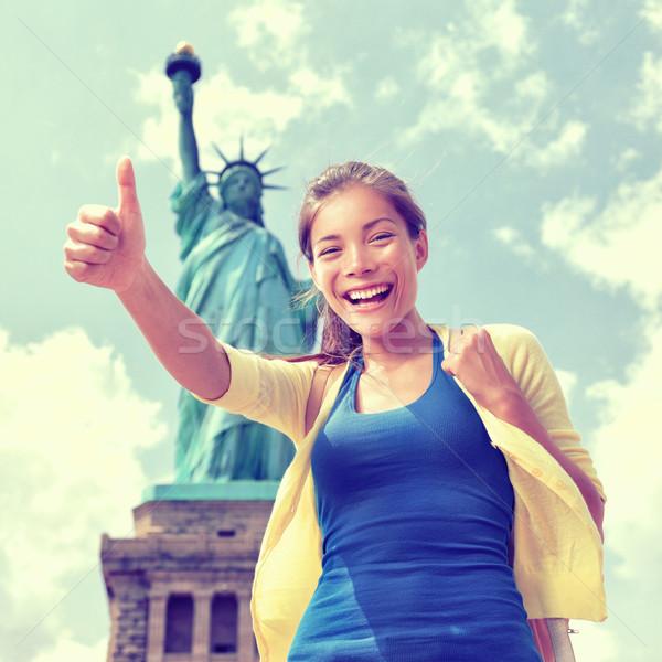 New York tourist fun in front of Statue of Liberty Stock photo © Maridav