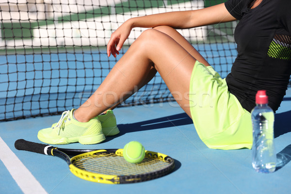 Tennis player woman resting drinking water Stock photo © Maridav