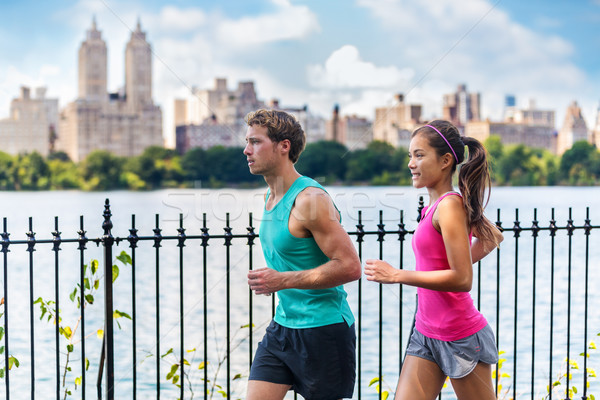 Running couple runners training, Central Park, NYC Stock photo © Maridav