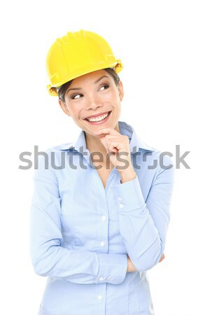 Inżynier przedsiębiorca architekta kobieta myślenia Zdjęcia stock © Maridav