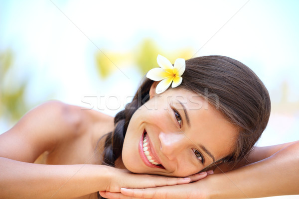 Woman natural beauty relaxing at outdoor spa Stock photo © Maridav