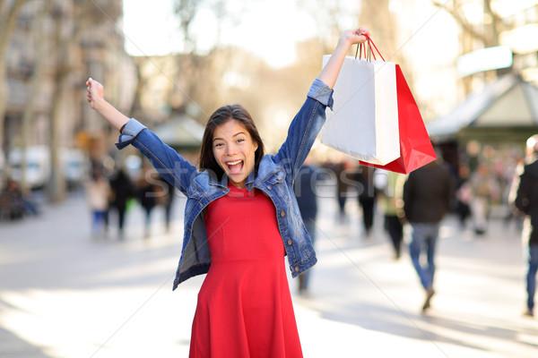 Vásárlás nő boldog LA utca Barcelona Stock fotó © Maridav