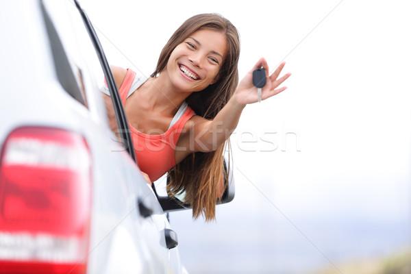 Araba sürücü kadın mutlu araba anahtarları Stok fotoğraf © Maridav