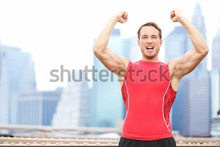Stockfoto: Winnend · atleet · man · runner · vieren · New · York