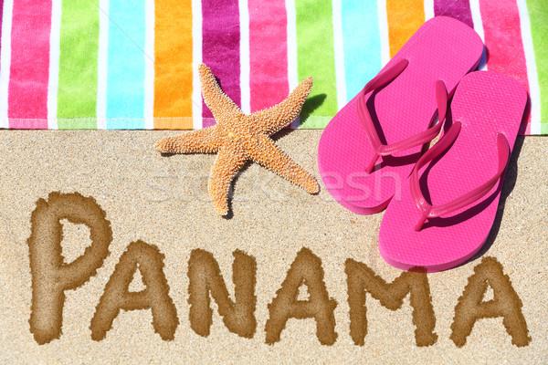 Panama plaj seyahat imzalamak metin yazılı Stok fotoğraf © Maridav