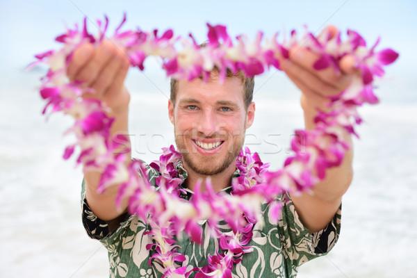 Hawaii uomo benvenuto maschio turistica Foto d'archivio © Maridav