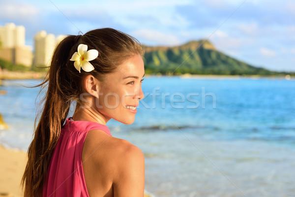 Hawaiian beach woman on Waikiki - beautiful girl Stock photo © Maridav