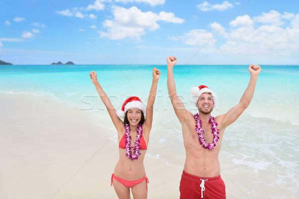 Mutlu Noel tatil çift Hawaii plaj Stok fotoğraf © Maridav